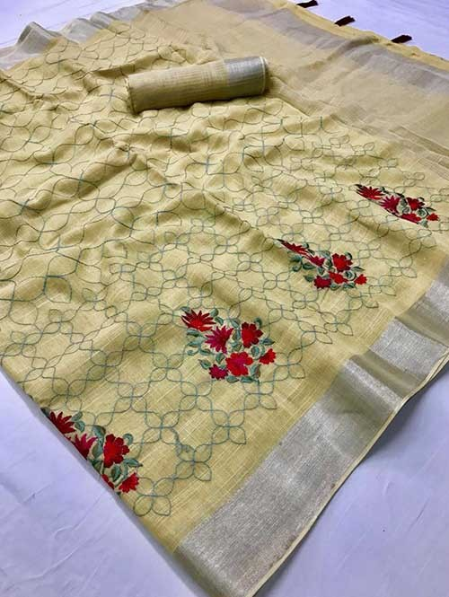 Yellow Colored Beautiful Embroidered Linen Saree - Ruchi Silk