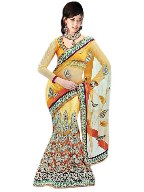 Yellow Colored Beautiful Embroidered Net Lehenga Saree