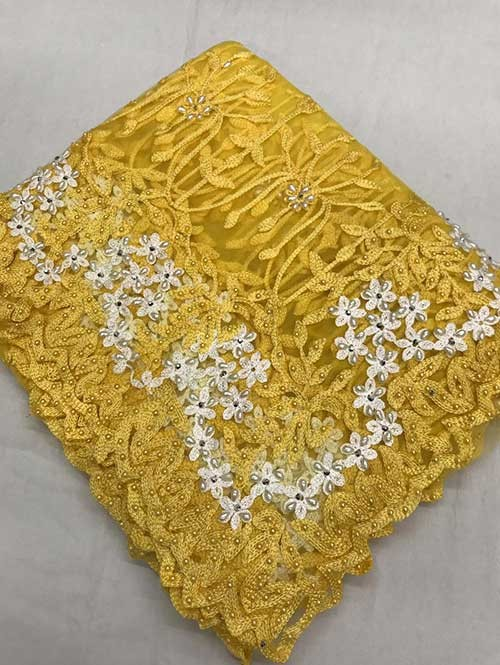 Yellow Colored Beautiful Embroidered Net Saree With Dimond work and Pearl work