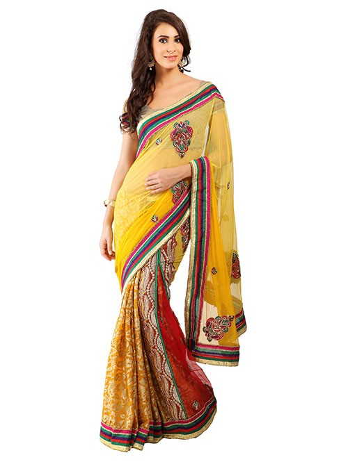 Yellow Colored Beautiful Embroidered Net With Brasso Saree