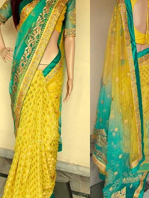 Yellow Colored Beautiful Embroidered Nylon Net and Georgette Saree