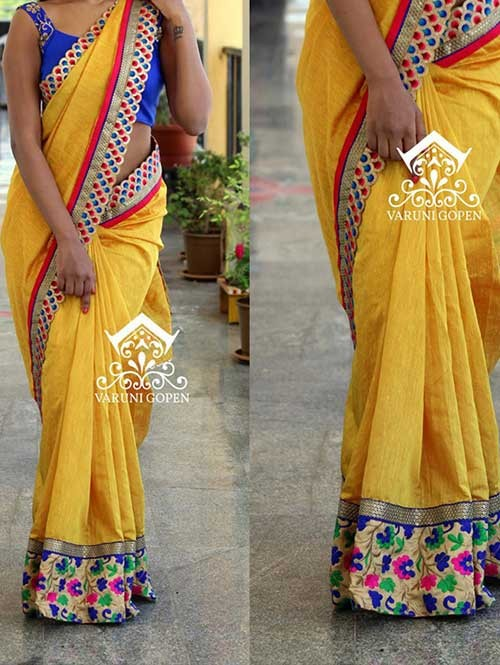 Yellow Colored Beautiful Embroidered Nylon Silk Saree