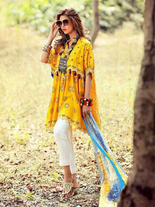 Yellow Colored Beautiful Embroidered Pakistani Salwar Suit