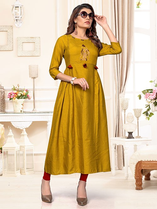 Yellow Colored Beautiful Embroidered Pleated Cotton Kurti