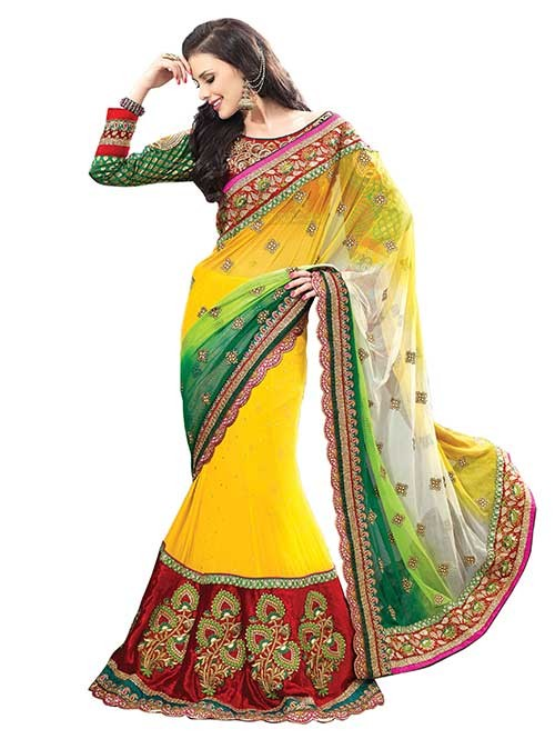 Yellow Colored Beautiful Embroidered Pure Georgette Heavy Saree