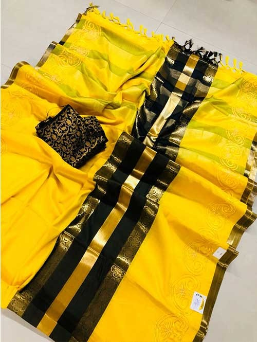 Yellow Colored Beautiful Embroidered Pure Silk Cotton Saree