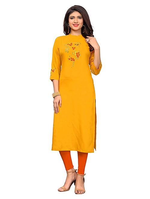 Yellow Colored Beautiful Embroidered Straight Rayon Kurti
