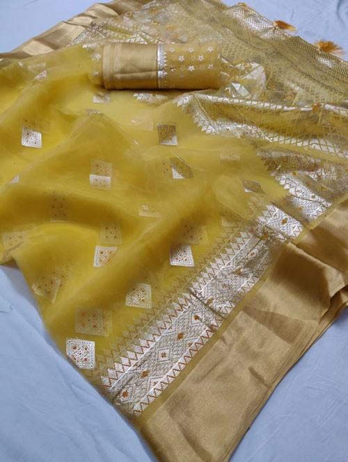 Yellow Colored Beautiful Foil Printed Organza Saree - Palkhi