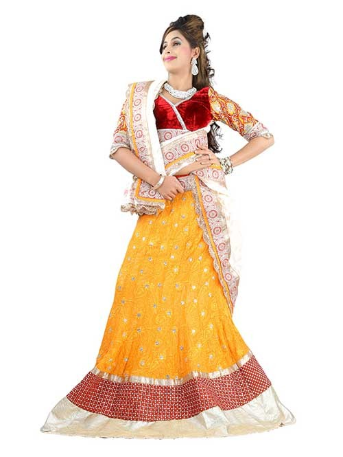 Yellow Colored Beautiful Heavy Embroidered Georgette Lehenga With Matching Choli and Dupatta