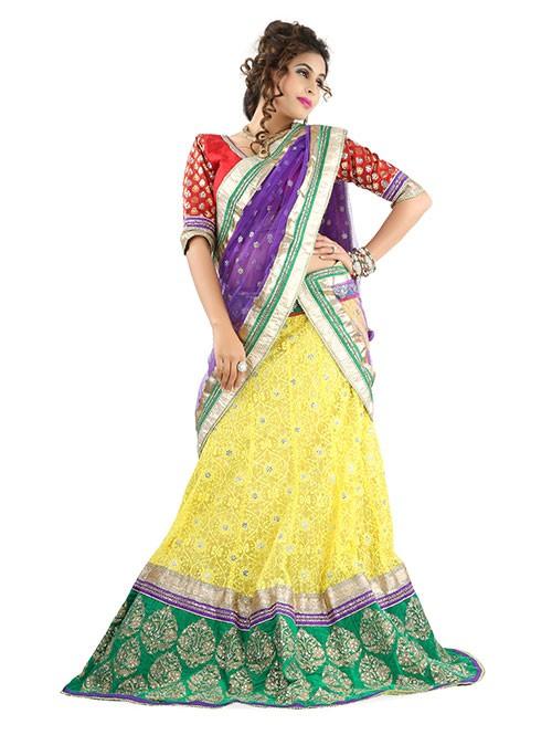 Yellow Colored Beautiful Heavy Embroidered Net Lehenga With Beautiful Silk Choli