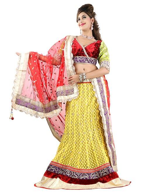 Yellow Colored Beautiful Heavy Embroidered Net Lehenga With Beautiful Velvet Choli