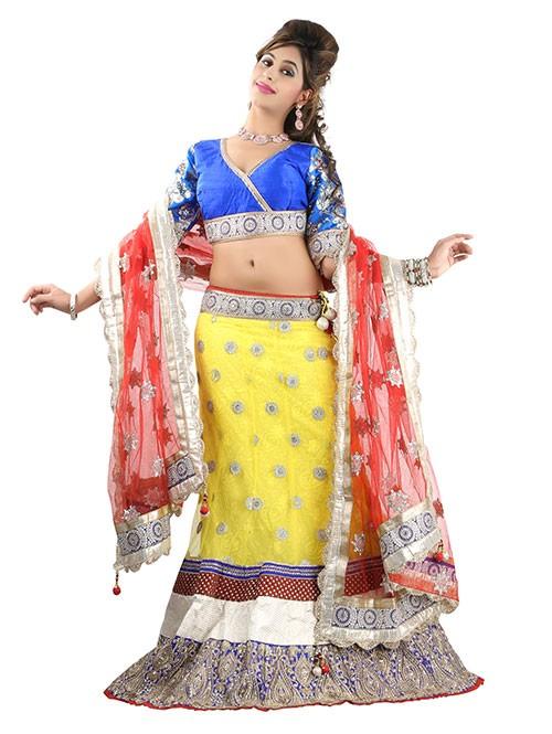 Yellow Colored Beautiful Heavy Embroidered Net Lehenga