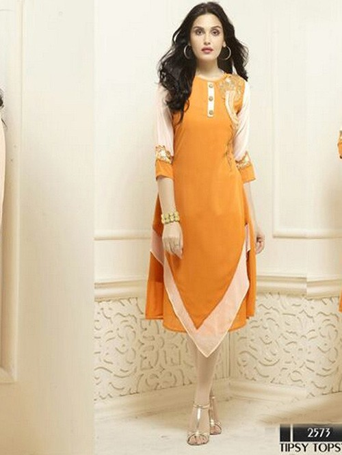 Yellow Colored Beautiful Heavy Faux Georgette Designer Kurti.
