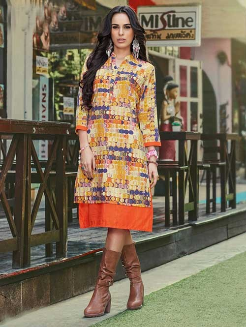 Yellow Colored Beautiful Banglori Silk Designer Kurti.