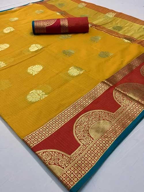 Yellow Colored Beautiful Kota Silk Zari Weaving Saree Online