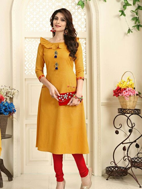 Yellow Colored Beautiful Linen Cotton Kurti