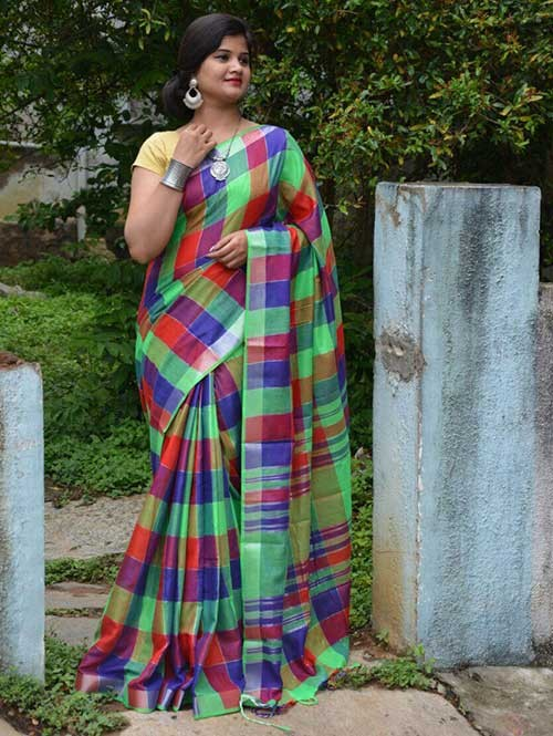 Multi Colored Beautiful Linen Saree With Running Blouse