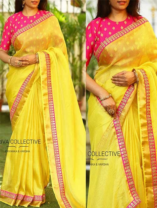 Yellow Colored Beautiful Marble Georgette Saree