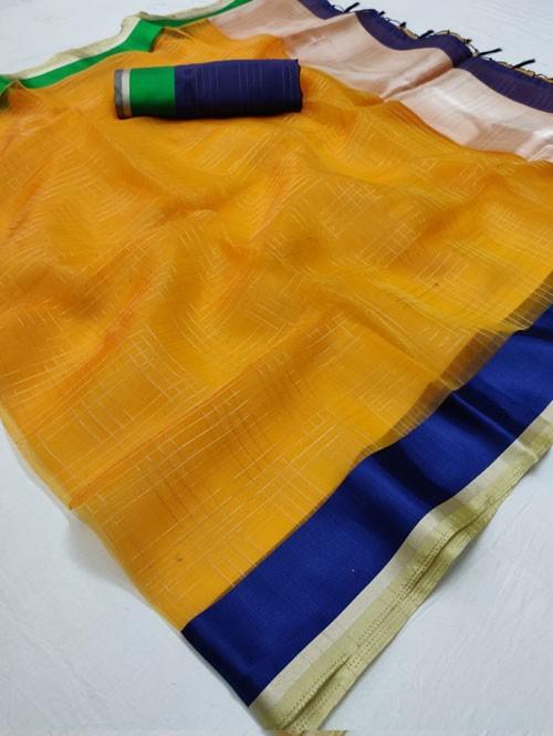 Yellow Colored Beautiful Organza Chex Saree - Miraki