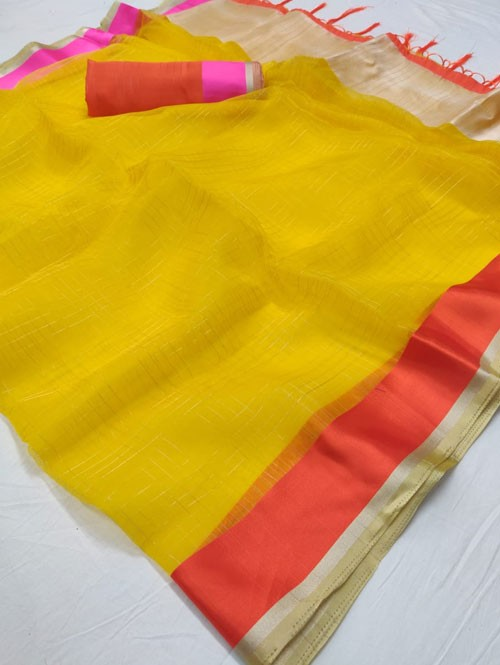 Yellow Colored Beautiful Organza Chex Saree - Miraki