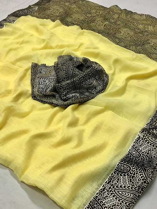 Yellow Colored Beautiful Printed Linen Saree with Satin Patta