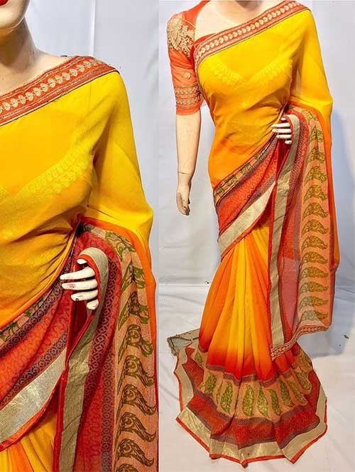 Yellow Colored Beautiful Printed Pure chiffon soothe fabric Saree
