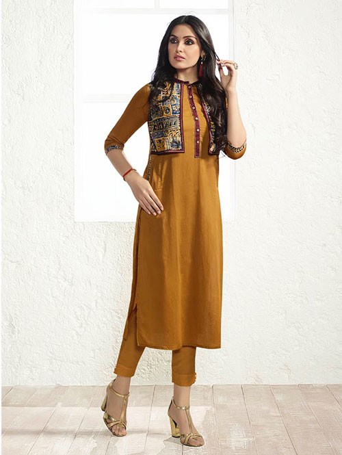 Yellow Colored Beautiful Printed Rayon Koti Style Kurti