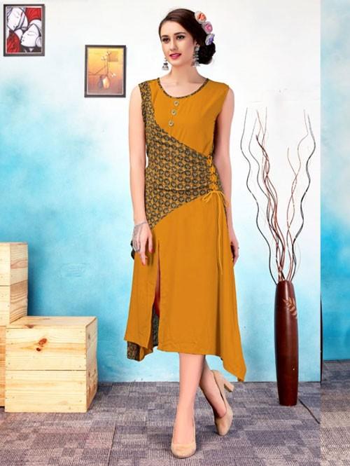 Yellow Colored Beautiful Printed Tiered Style Rayon Kurti.