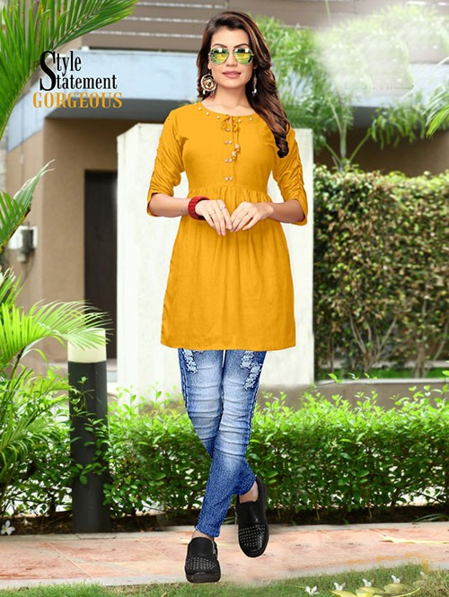 Yellow Colored Beautiful Rayon Kurti With Fancy Wooden Button
