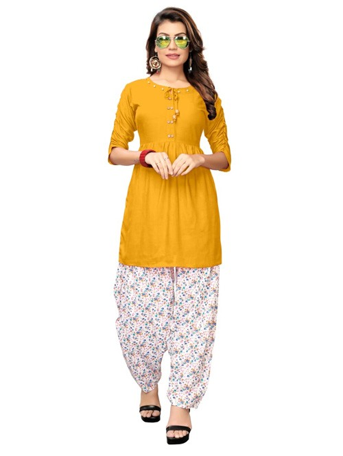 Yellow Colored Beautiful Rayon Kurti With Printed Patiala