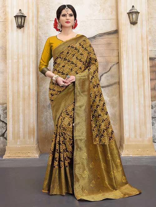 Yellow Colored Beautiful Soft Banarasi Silk Fancy Saree Online