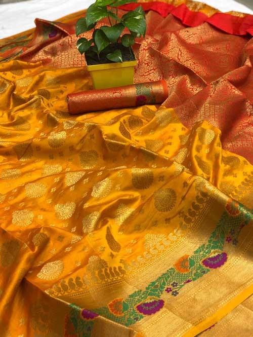 Yellow Colored Beautiful Soft Banarasi Silk Mina Work Silk Saree Online