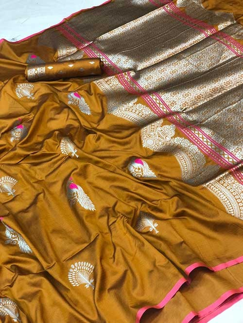 Yellow Colored Beautiful Soft Silk Traditional Saree Online
