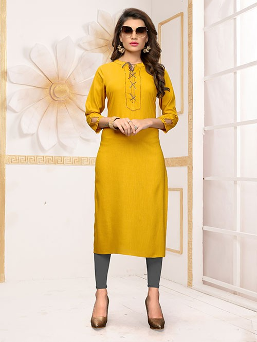 Yellow Colored Beautiful Straight Rayon Kurti with Handwork