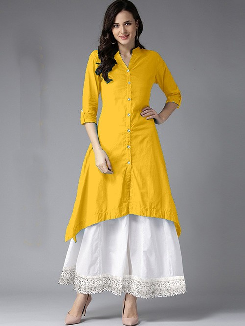 Yellow Colored Beautiful Trail Cut Rayon Kurti With Cotton Palazzo