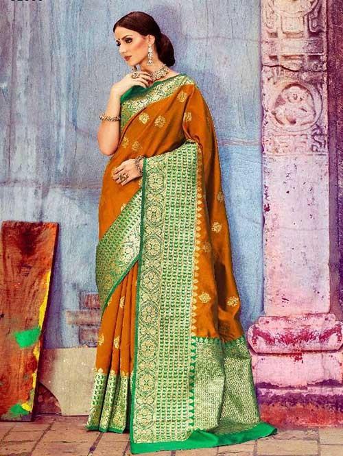 Yellow Colored Beautiful Waving Silk Saree