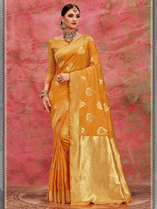 Yellow Colored Beautiful Waving Silk Saree
