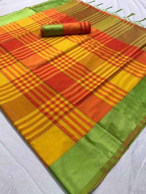 Yellow Colored Beautiful Weaving Silk Saree - Tulika jashi