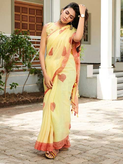 Yellow Colored Beautiful Woven Linen Silk Saree - Pearl