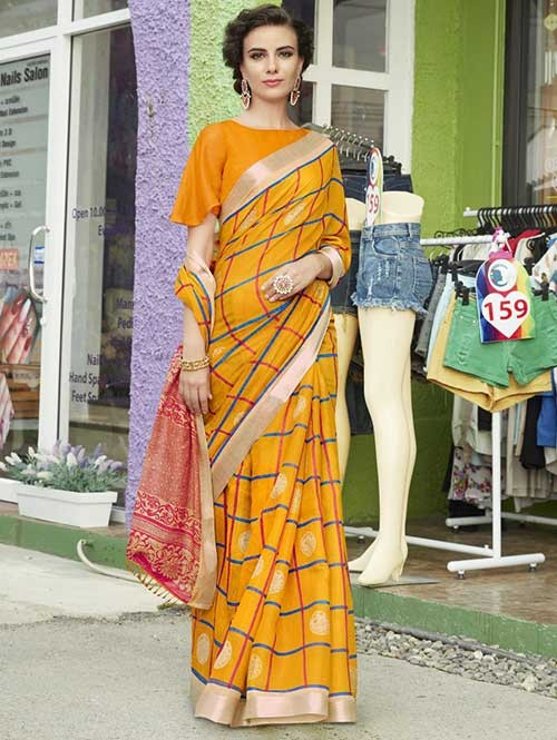 Yellow Colored Beautiful Zari weaving Linen Silk Traditional Saree
