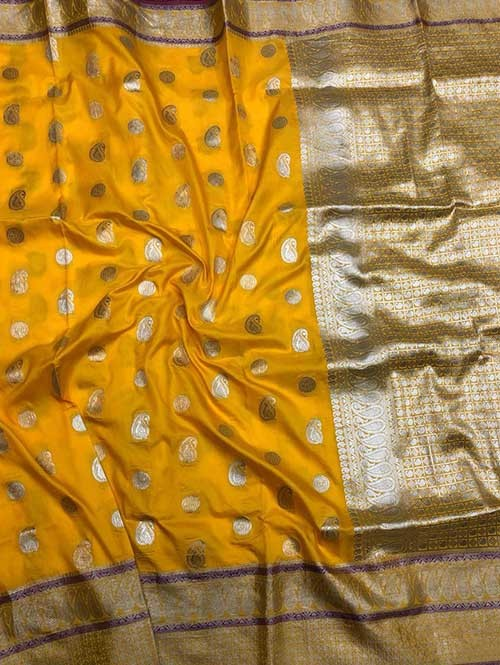 Yellow Colored Beautiful Zari Weaving Saree Online
