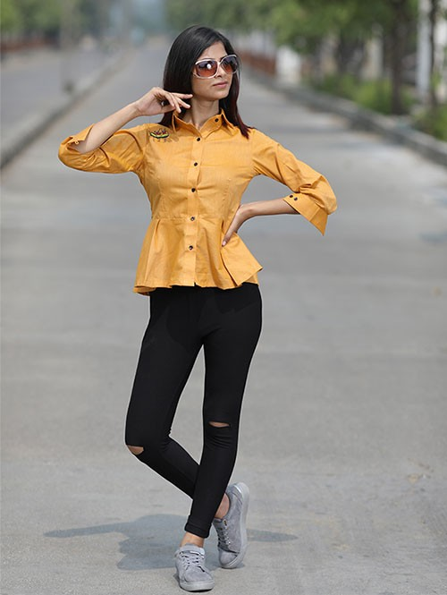 Yellow Colored Classy Embroidered Long Pleated Shirt