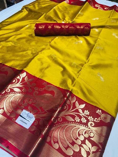 Yellow Colored Cotton Silk Saree - Ahaana