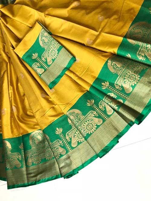 Yellow Colored Cotton Silk Saree - Ashika Butta