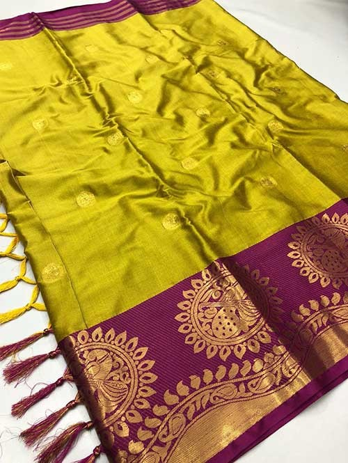 Yellow Colored Cotton Silk Saree