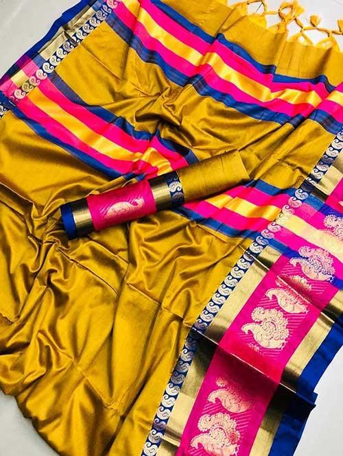 Yellow Colored Cotton Silk Saree- Veera