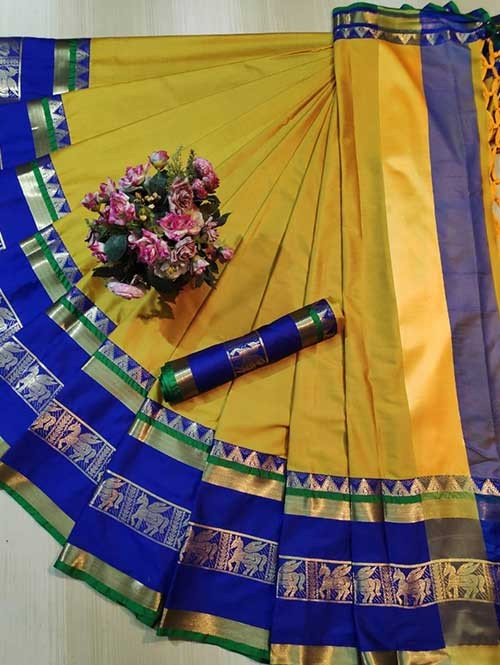 Yellow Colored Cotton Silk Saree - Horse