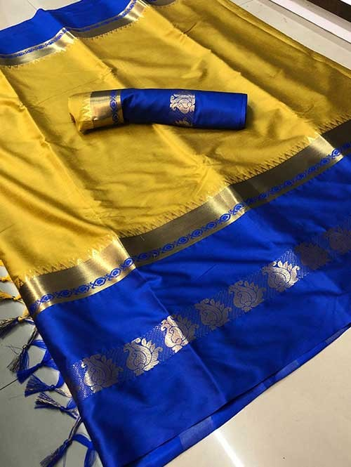 Yellow Colored Cotton Silk Saree - Karishma