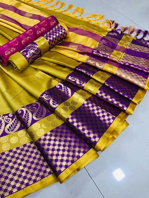 Yellow Colored Cotton Silk Saree - Shawa