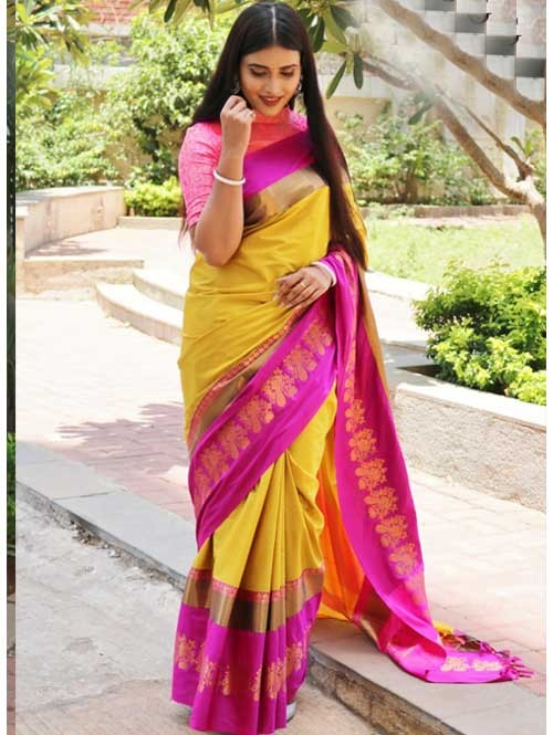 Yellow Colored Cotton Silk Saree with Extra Blose Piece - Rich Mayurica